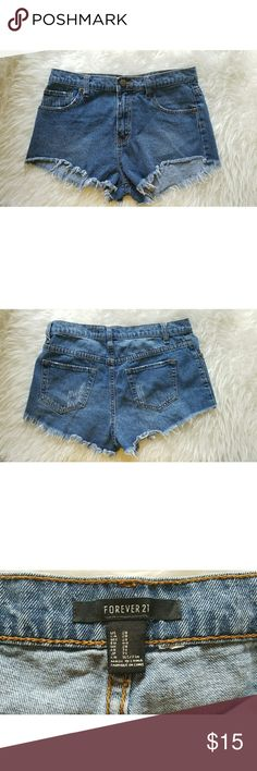 Blue High Waist Frayed Denim Cutoffs Worn a few times, in excellent condition.   Smoke-free, pet-free home. Forever 21 Shorts Jean Shorts