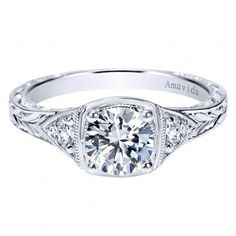 Platinum Diamond Three Stone Engagement Ring #wedding #beautiful #engagement  Find the engagement ring of your dreams at Emma Parker & Co. We offer over 1,500 styles including this beautiful vintage engagement ring setting. If you can't find what you like, we will make a ring for you.