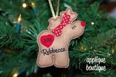 Machine Embroidery Design, In The Hoop, Reindeer Christmas Ornament with Instructional PDF