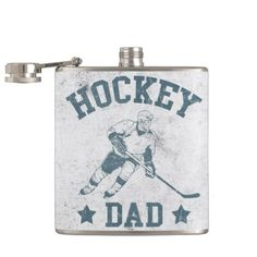 Hockey Dad Stainless Steel Hip Flask.  How about this for the perfect gift for your hockey dad! A stainless steel flask with a cool, retro style design. #hockey #hockeydad