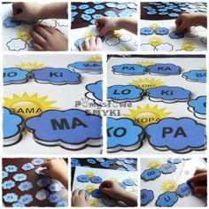 Sylabowa pogodynka - nauka czytania przez zabawę Alphabet Activities, Speech Therapy, Kindergarten, Preschool, Kids Rugs, Writing, Children, Marcel, Reading