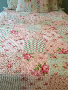 Shabby Chic Quilt MADE TO ORDER made of Tanya Whelan fabrics in a cozy patchwork quilt pattern. These blocks measure approx 9 and are