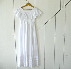Long White Cotton Dress  Vintage Ann Taylor by EitherOrFinds, $24.00