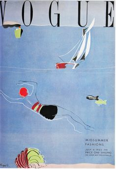 Vintage Vogue 'Mid-Summer Fashions' cover, UK edition, July 6, 1932