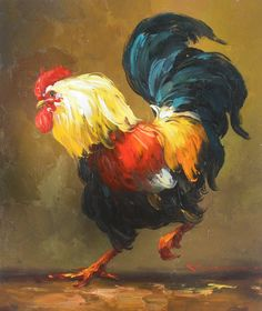 hand oil painting One of the twelve zodiac animals in China: chicken oil painting, sculpture, arts and crafts Rooster Painting, Rooster Art, Chicken Painting, Chicken Art, Chicken Pictures, Carpe Koi, Watercolor Bird, Pictures To Paint, Animal Paintings
