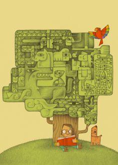 Il.lustració llibres i lectura.Alberto Gamón