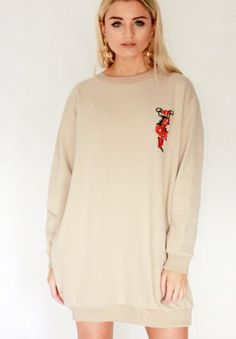 269351ec76 Rose embroidered sweater dress- nude