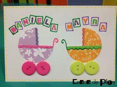 COSAS DE PITY (Crafts y Scrap): Nombres y tarjeta para gemelas.