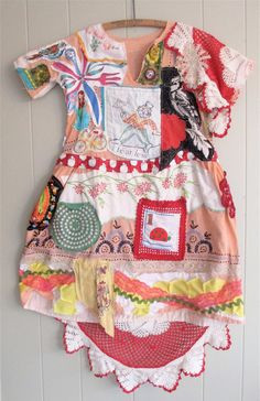 myBonny  DIARY DRESS - Wearable Art Fabric Collage Couture -   Vintage Linens - Eclectic Funky Artsy Artisan Altered