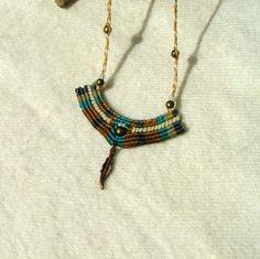 Macrame necklace - wind medicine-  beaded macrame necklace - feather dangle