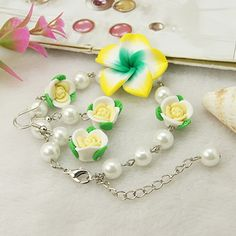 Sweet Jewelry Sets: Earrings & Bracelets, with Handmade Polymer Clay Flower Beads, Glass Pearl Beads