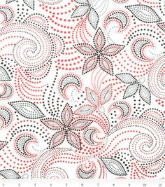 Quilter's Premium Fabric-Going Dotty Scroll Floral White
