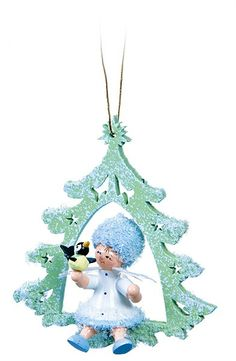 Baumbehang Schneeflöckchen mit Vögelchen