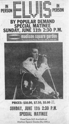 Press - Matinee added | Elvis Presley at Madison Square Garden MSG 1972