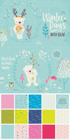Winter clipart bear and bunny / Christmas clipart / holiday clipart / nursery wall art / Season clipart / nursery decor / bear clipart
