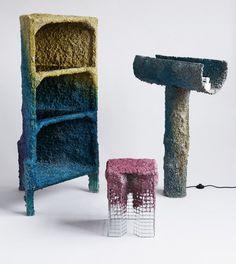 james shaw creates furniture using spray guns- NATURAL RESINS