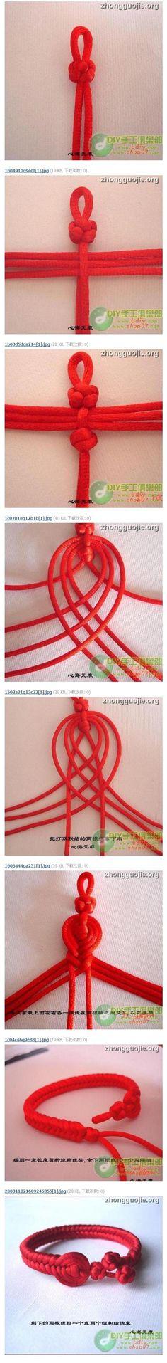 本命年避邪红手链。芘芭结手绳教程。