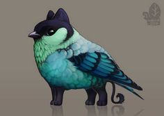 Auction: Black-Capped Tanagerling by nybird on DeviantArt Cute Fantasy Creatures, Mythical Creatures Art, Alien Creatures, Mythological Creatures, Cute Creatures, Magical Creatures, Fantasy Beasts, Fantasy Art, Griffin Drawing