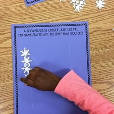 """Snowflake Letter Building: """"A Snowflake is Unique, Just Like Me. My Name Starts with the Letter That You See!"""" (from Nicole Franklin, Modern Preschool via Instagram: https://www.instagram.com/p/BPVPY76hoHR/?taken-by=modernpreschool)"""