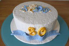 'Something blue' 50th anniversary choc mud cake