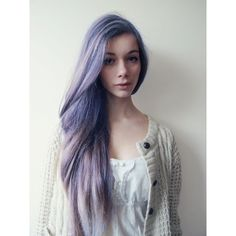 Purple Hair ❤ liked on Polyvore featuring beauty products, haircare, hair styling tools, hair, hairstyles, people and cabelos