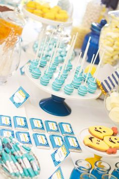 Great ideas for bananas in pyjamas party table!