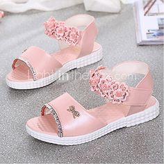 Girl's Sandals Summer Open Toe Casual Flat Heel Applique Blue / Pink Walking 2017 - R$47.29