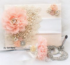 Wedding Guest Book and Pen Set Signature Book in Ivory, Nude, Blush, Light Coral and Peach with Pearls and Lace