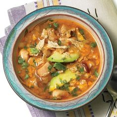 Crock pot Chicken Lime, Avocado, and Cilantro Soup - must try!