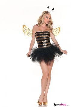 Sequins Bee Costume, Honey Bee Halloween Costume, Sexy Adult Sequin Bee Costume