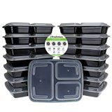 Freshware 15-Pack 3 Compartment Bento Lunch Boxes with Lids  Stackable Reusable Microwave Dishwasher & Freezer Safe  Meal Prep Portion Control 21 Day Fix & Food Storage Containers (32oz) Reviews