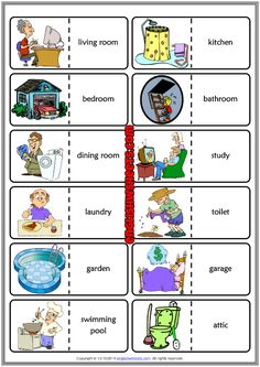 Places in a House ESL Printable Dominoes Game For Kids