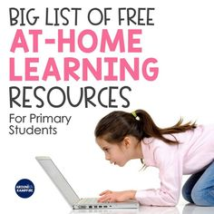 A huge list of educational websites and free home learning activities for 1st, 2nd, and 3rd grade students. A must-see list for elementary teachers planning distance learning or remote learning for their classrooms during a school closure, illness, or scheduled school break.