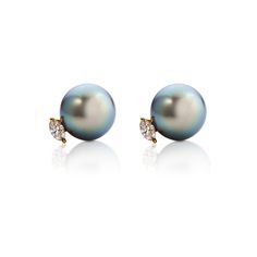 Tahitian Pearl with Marquise Diamond Earring