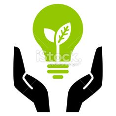 Green ecology bulb in open hands Royalty Free Stock Vector Art Illustration