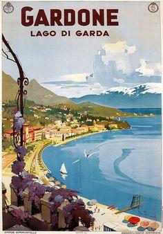 1930's Italian Italy Gardone Lake Garda vintage art deco poster #beach #essenzadiriviera   www.varaldocosmetica.it