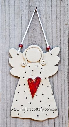 Australian handmade ceramic angel from www. - Australian handmade ceramic angel by www. Clay Christmas Decorations, Christmas Clay, Christmas Angels, Handmade Christmas, Angel Crafts, Diy And Crafts, Christmas Crafts, Christmas Ornaments, Pottery Angels