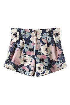 ROMWE | ROMWE Floral Print Zippered Shorts, The Latest Street Fashion