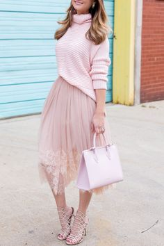 Pink lace tulle skirt, pale pink turtleneck sweater, midi tote, sandals