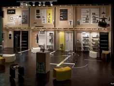 """The aim of this year's trade fair stand concept was to demonstrate the multifaceted and flexible uses of the Serafini product range in the household. With this in mind, the designers from atelier 522 designed an abstract living situation where the products could be shown to their best advantage: the framework for this was a two-storey, 6-metre-high house that afforded an insight into the different """"rooms"""". #ExhibitionDesign #TradeFairBooth #Serafini"""