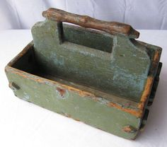 Vintage / antique American folk art carved wooden tool box.