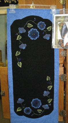 Crane Design by Jan Mott Wool Applique Penny Rug & Punchneedle Patterns: Spring is Just a Blooming at Blue Bird Quilt Studio... with Floral Melody Wool Applique Runner
