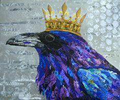 The Raven - 11 X 14 Print - Bird with Crown - Bird Art - Bird Collage - Edgar Allen Poe  - Lisa Morales