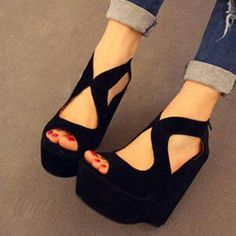 #wedges #sandals #summer #casual #outfits Material:Suede|Heel Height:15cm|Embellishment:Platform