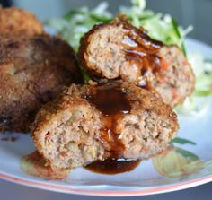 Rie's Meat Loaf/Menchi Katsu Good Meatloaf Recipe, Meatloaf Recipes, Beef Recipes, Snack Recipes, Snacks, Japanese Dishes, Japanese Food, Asian Recipes, Ethnic Recipes