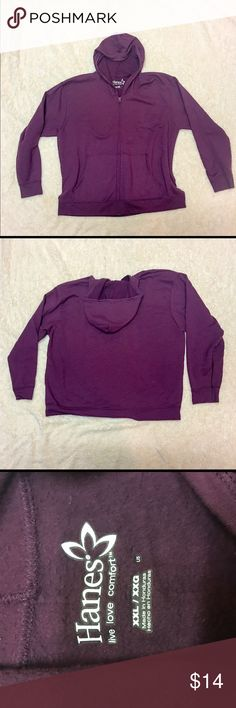 Hanes Plus Size Hoodie Only worn once, like New Hanes SIZE XXL Zip up Loung Hoodie in a Plum Wine Color. This style hoodie is stringless so it rests loosely on your head when using hood. Hanes Tops Sweatshirts & Hoodies
