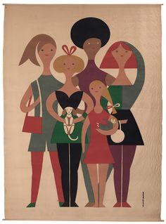 "Girls,""Environmental Enrichment Panel"" for Herman Miller, 1972. via Treadway Gallery"