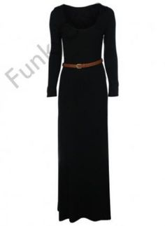 Black Long Sleeve Belted Maxi Dress,  Dress, maxi dress  belted dress, Casual
