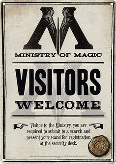 Harry Potter Print Ministry of Magic Visitors Welcome Sign Wall Art Decor Hogwarts Objet Harry Potter, Magia Harry Potter, Classe Harry Potter, Deco Harry Potter, Harry Potter Props, Harry Potter Classroom, Harry Potter Printables, Mundo Harry Potter, Harry Potter Merchandise