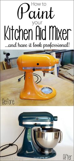 Step-by-step instructions for how to PAINT your Kitchen Aid Mixer... and have it look professional! {Sawdust and Embryos}